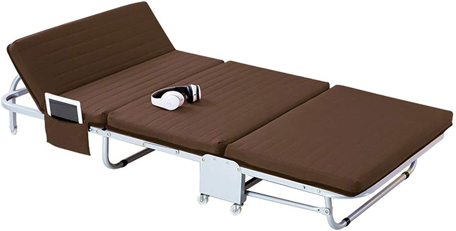 Folding Bed Outdoor with Cushion Portable Foldable Camping Bed Accompanying Bed Guest Bed (color   Brown)