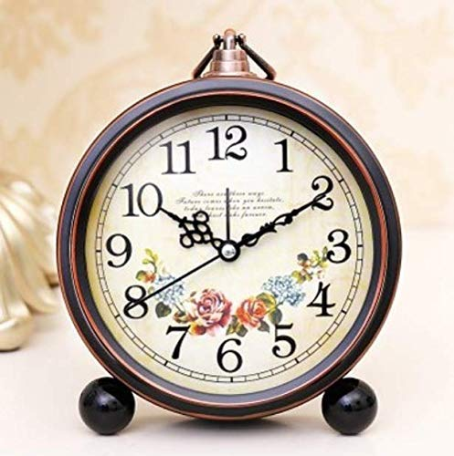 ZhenHe Despertador tradicional reloj retro creativo del reloj de alarma Silencio Estudiante de noche Reloj Europeo dormitorio la decoración del reloj del pequeño despertador de metal Reloj Reloj Adecu