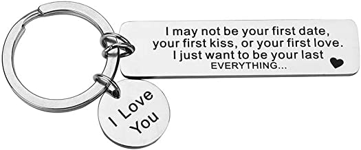 7-Almond Valentines Day I May Not Be Your First Date Your First Kiss Keychain Couples Love Keyring Gfit Boyfriend Mens Keychain Gift for Him Gift for Dad