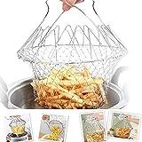 Escurridor de acero inoxidable Skimmer Cesta de red de freír plegable Colador de cocción para papas fritas Patata freidora Cocina de alimentos fritos Herramienta de cocina