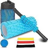 Foam Roller kit 4-in-1, Rullo in Schiuma, Rullo Massaggio, Bande Elastici Fitness [Set di ...