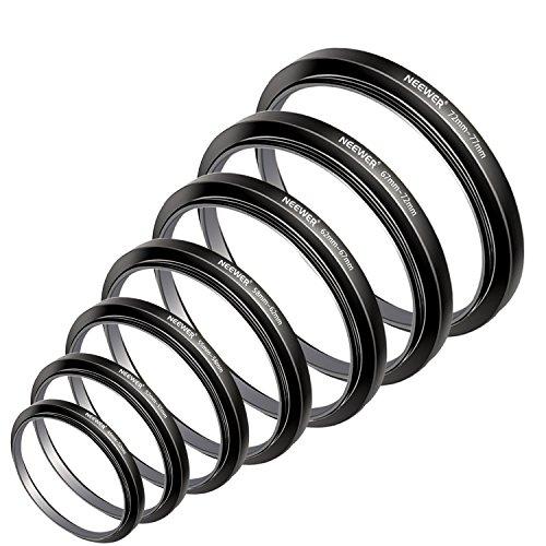 NEEWER® Filter Step Up Ringe-Set 49-52-55-58-62-67-72-77mm-49mm 7pcs 77mm Sonnenblende