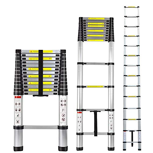 Telescopic Extension Ladder, 16ft Portable Telescoping Ladder, Non-slip Ribbing pedal(16ft/4.9M)