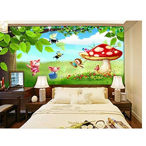 chtshjdtb grote boom paddenstoel kinderkamer 3D afbeelding sofa achtergrond vliesbehang voor muur aangepaste 3D fotobehang bed kamer wandfoto 210x140cm