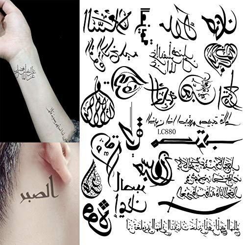 1 Blatt Multi-Stil 24 Modelle hot trendy Temporary Tattoos Arm Körperkunst arabische Wort geometrische Tattoo Aufkleber schwarz tatuagem