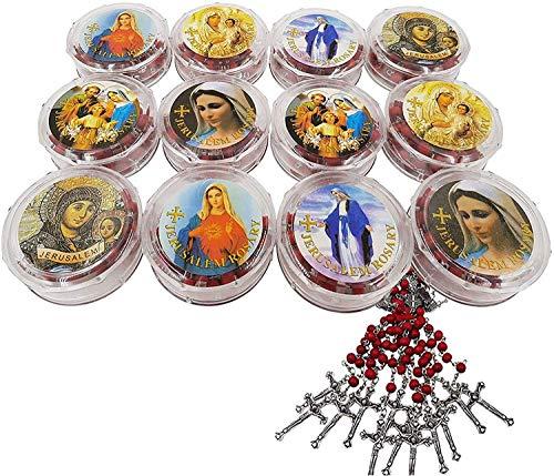 SpringNahal Lot de 12 chapelets de roses rouges en forme de croix catholique pétales de perles rouges sculptées et plaqué argent