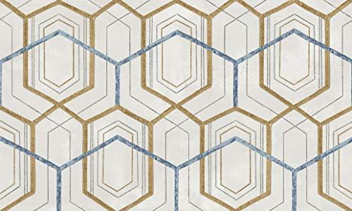 Carta da parati classica disegno anni 70 geometrica colore oro, bianco, azzurro. 24 Carati 7416