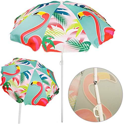 alles-meine.de GmbH Strandschirm / Sonnenschirm - Flamingo Vogel & Blumen - Ø 145 cm - UV-Schutz - UV Campingschirm / Poolschirm - Polyester - Gartenmöbel - Gartenschirm - Strand..