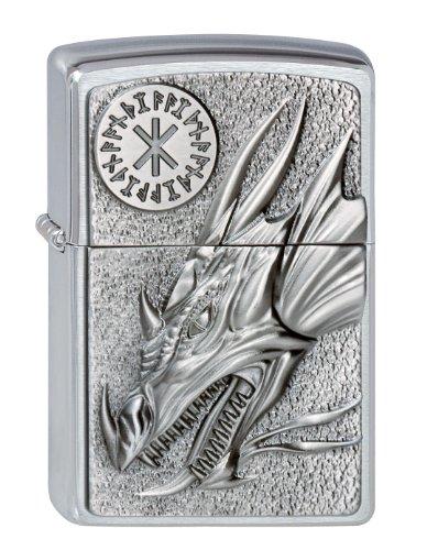 Zippo Zippo Feuerzeug 2002726 Dragon mit Amulet Benzinfeuerzeug, Messing, Brushed Chrome, 1 x 3,5 x 5,5 cm Brushed Chrome