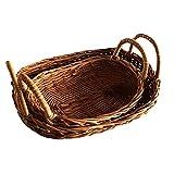 Cesta de Almacenamiento de ratán de 2 Piezas con Mango Rattan Bandeja Tejida Pan Fruit Food Breakfast Basket for Kitchen Canasta Pan