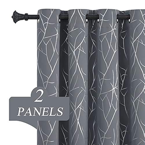 Estelar Textiler Grey Blackout Window Curtains Silver Wave Branches Print Grommet Blackout Curtains Thermal Insulated Drapes Blinds for Bedroom Sliding Patio Door 52 x 84 Inch Grey 2 Panels