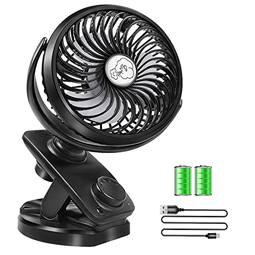 Stroller Fans Mini USB Desk Clip on Fan,YXwin Table Fan 40 Hours(Max) 360° Rotation 5000mAH Rechargeable Battery Operated 4 Speed Quiet Fan for Outdoor/Indoor Baby Car Travel Office Camping Library