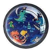 引き出しハンドルは、家庭用キッチンドレッサーワードローブ用の丸いクリスタルガラスを引っ張る水中海賊クロコジルとのシームレスなパターン