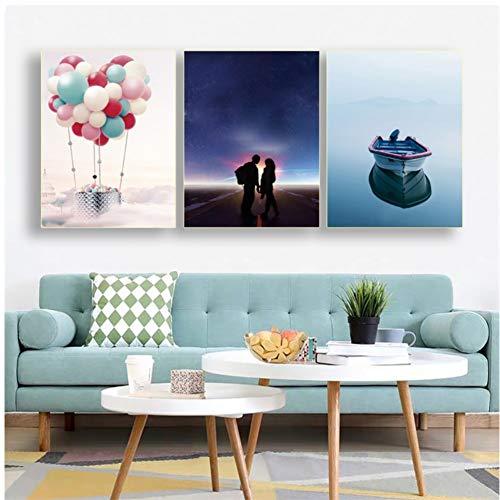 RHBNVR canvas schilderij 3 stuks canvas poster en prints liefhebbers ballon boot muurkunst schilderij voor woonkamer slaapkamer decoratie schilderijen (zonder lijst)