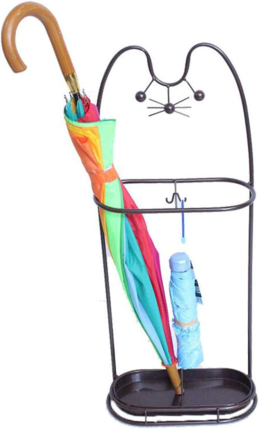HTTDIAN Lucky cat Wrought Iron Household Umbrella Stand Storage Rack Umbrella Bucket Hotel Lobby Cute Umbrella Stand (color   Black)