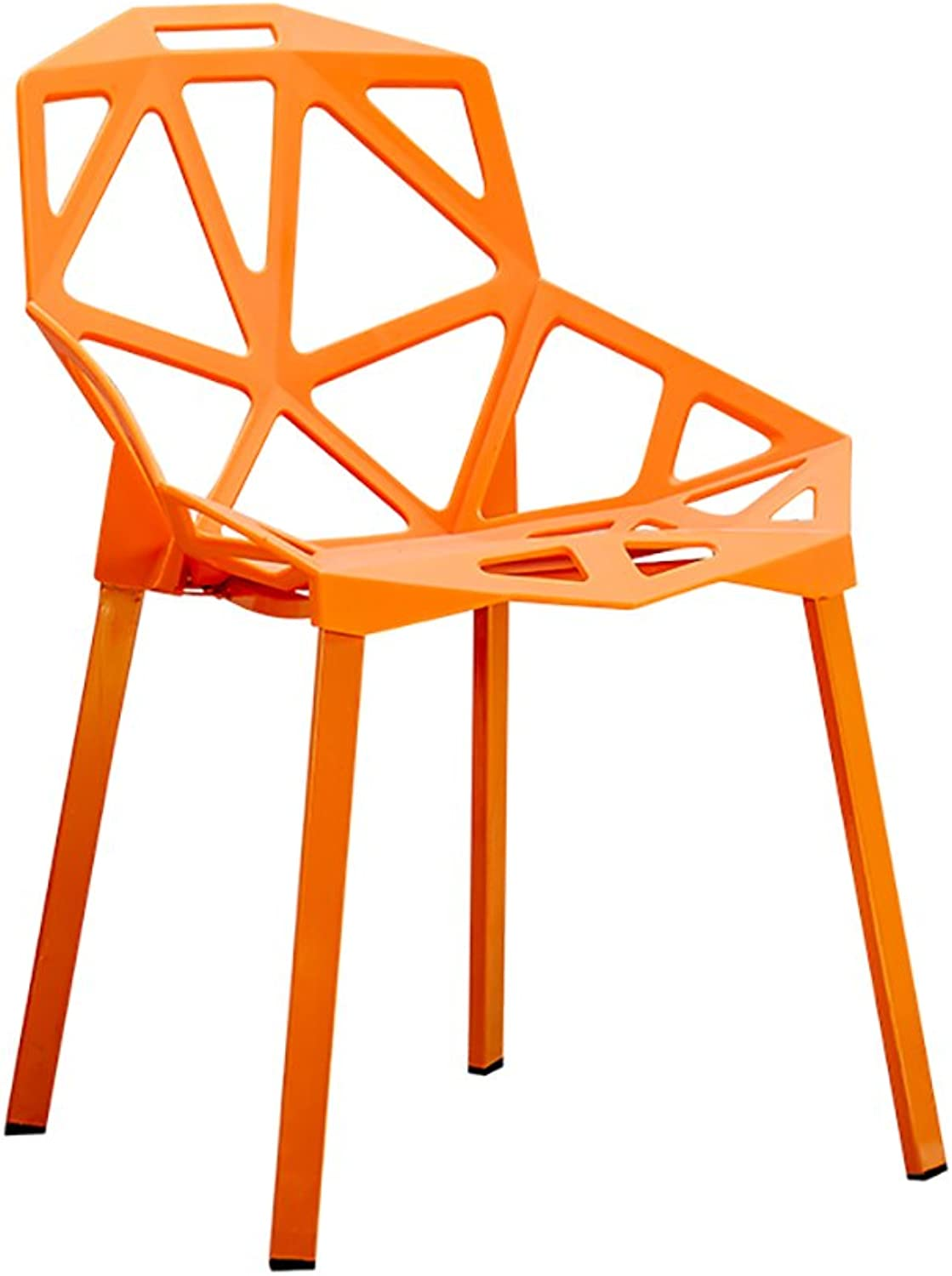 MING REN Chair - Creative Geometric Hollow Chair Home Modern Minimalist Plastic Stool Dining Chair - Multi-color Optional (Size  55X46X81cm) (color   orange)