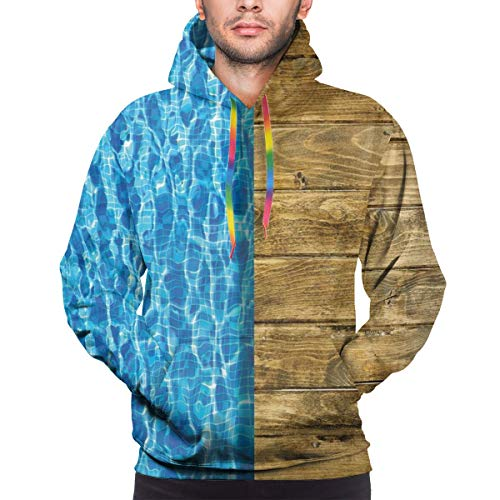 Men's Hoodies 3D Print Pullover Sweatershirt,Summer House Seem Swimming Pool with Wooden Seem Deck Image,S