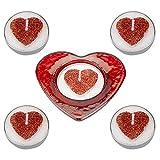 Con Love Red Glitter Cuore Tealight Candele e supporto in vetro Set San Valentino