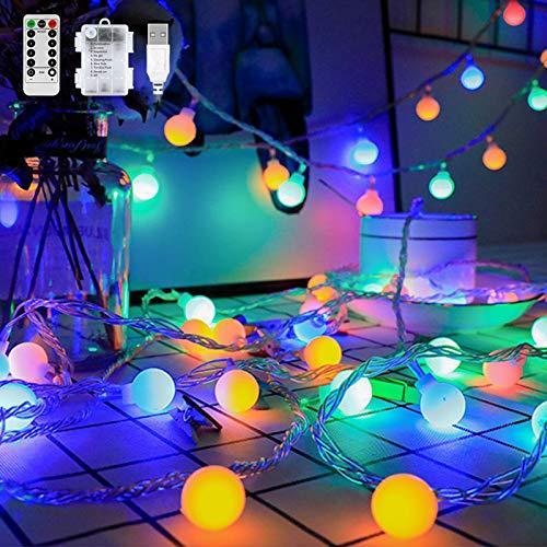 Guirnalda de 80 luces LED multicolor, 8 m, 8 modos, resistente al agua, con pilas, enchufe USB, función de temporizador, para Navidad, fiesta, jardín, boda, balcón, decoración