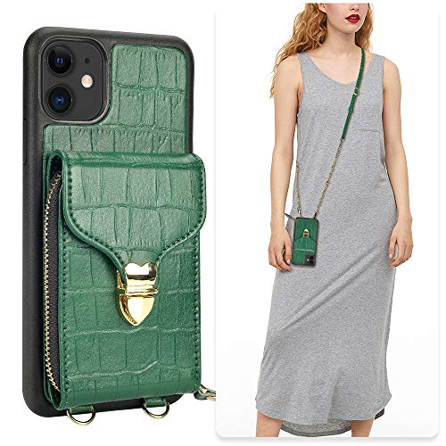 iPhone 11 Wallet Case, JLFCH iPhone 11 Crossbody Case with Zipper Credit Card Slot Holder Wrist Strap Lanyard Protective Cover Women Girl Purse for Apple iPhone 11, 6.1 inc - Crocodile Midnight Green