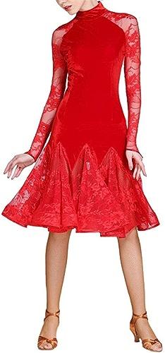 Robe de femme Femmes Haut Col Dentelle Splice Professionnel Lyrique Latin Dance Dress Dames à Manches Longues à Volants Salle De Bal Perforhommece Dancewear Costume Robe De Bal Robe Robe de danse