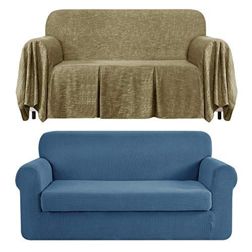 CHUN YI Stretch 2-Piece Loveseat Sofa Slipcover Bundles 1-Piece Medium Linen Sofa Throw Cover with Ruffle Design( Denim Blue, Khaki)