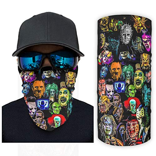 Bufanda mágica de películas de terror Collag Headwear Bandana polaina para el cuello envoltura de la cabeza pasamontañas para la caza y el mejor regalo para cumpleaños blanco onesize