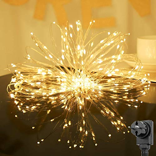 SALCAR 20m 200er LED Lichterkette + 3m Stromkabel, 4,5V Sicherheits netzteil, Dekoraktive LED Kupfer Lichterkette für Haus, Weihnachtsbaum, Bar usw, Memory-Funktion - Warmweiß