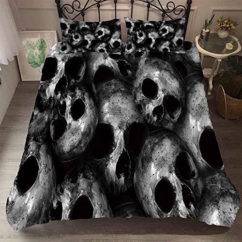 REALIN Fundas Nórdicas Horror Skull Series Juego De Ropa De Cama Cráneo Muerto Colcha 2/3/4PCS Fundas De Edredón Nórdico/Almohada/Sábanas,para Cama 90/135/150/180 (Cama 80/90(140×210cm)-3PCS,H)