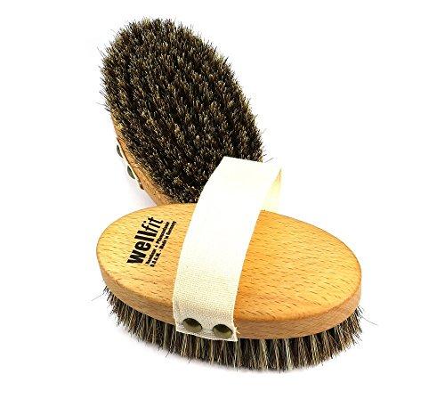 Brosse de santé Wellfit - brosse à main - brosse de bain, brosse de massage - en bois de hêtre cuit à la vapeur et huilé avec un mélange de poils de crin et de fibres naturelles fortes, 135 x 70 mm