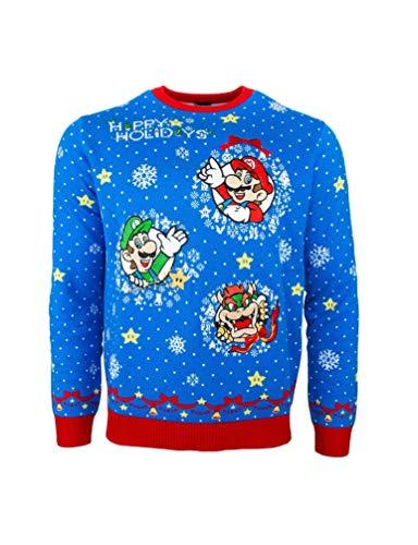Oficjalne swetry świąteczne Super Mario dla mężczyzn lub kobiet – brzydkie nowości prezenty sweter bożonarodzeniowy, oficjalnie licencjonowany Mario Bros uniseks sweter z dzianiny wzór