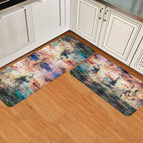 Brawvy Kitchen Rug Sets Watercolor Horse Fantasy Fairy Tale Animal Forest Abstract 2 Pieces Non-Slip Soft Super Absorbent Kitchen Mat Doormat Carpet Set for Doorway