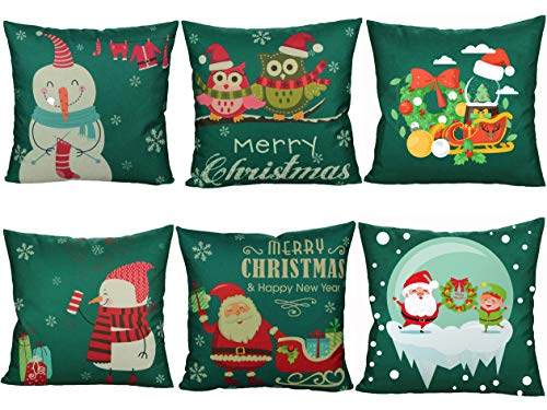 WUWEOT 6 Pack Christmas Throw Pillow Covers, Decorative Snowman Owl Santa Claus Pillow Covers, Linen Cushion Cover Couch Pillow Cases Suit for Sofa, Couch, Bed and Car, 18x18 Inch (Green)