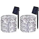 [2 Pack] BOLWEO Solar Lights Outdoor, Solar Garden...
