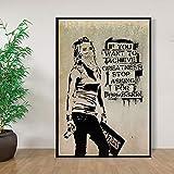 Kein Rahmen Banksy, wenn Sie Größe erreichen wollen, hören Sie auf, um Erlaubnis zu Bitten Plakate und Drucke Leinwandmalerei Wandkunst Home Decor 50x75cm