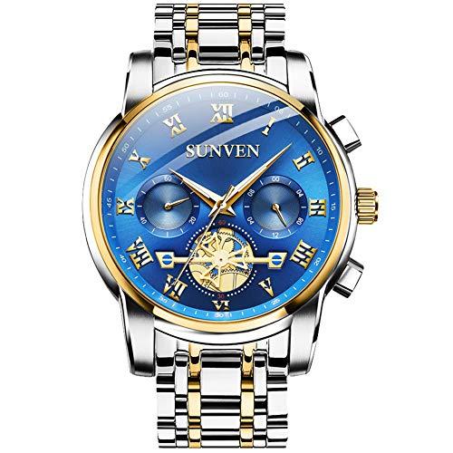 SUNVEN Herrenuhren Blau wasserdichte Quarz Armbanduhr Silber Gold Edelstahl Saphirglas Multifunktionsdisplays Leuchtzeiger