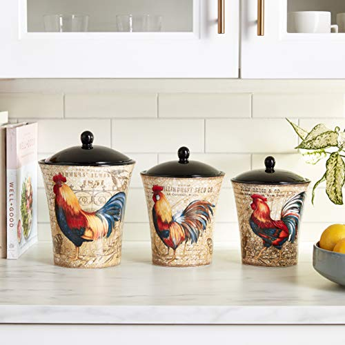 Certified International 23656 Gilded Rooster Canister Set (3 Piece), One Size, Multicolor