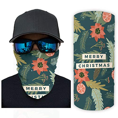 Green Merry Christmas Floral Leaf Neck Gaiter Balaclava Bandana Headbands Face Mask Outdoor Hiking Cycling Headwrap white onesize
