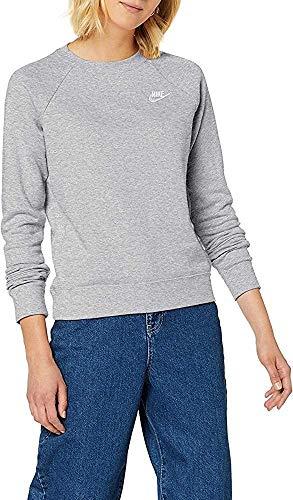 Nike W NSW Essntl Crew FLC T-Shirt à Manches Longues Femme Black/(White) FR: XS (Taille Fabricant: XS)