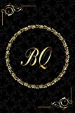BQ: Golden Monogrammed Letters, Executive Personalized Journal With Two Letters Initials, Designer Professional Cover, Perfect Unique Gift