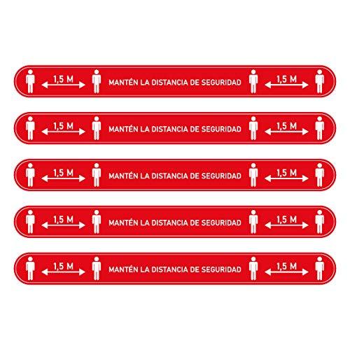 Confezione da 5 adesivi di segnalazione distanza sociale 1,5 m con strisce adesive di distanza di sicurezza per pavimenti, in vinile, misure di protezione, rosso, 5