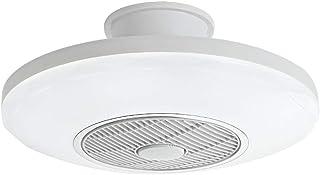 Ventilador de techo con luces LED moderno de control remoto regulable hoja oculta de perfil bajo rasante semi monte cerrado Fandelier lámpara 110V 220V 50Cm