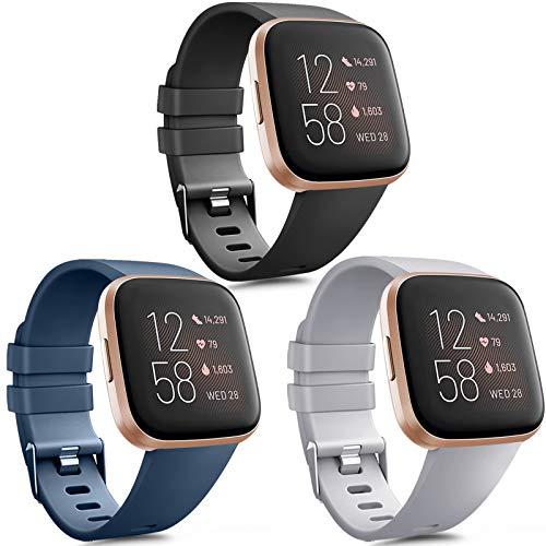 Vancle 3 Pack Kompatibel für Fitbit Versa Armband/Fitbit Versa 2 Armband, Klassisch TPU Sports Verstellbares Ersatz Armbänder für Fitbit Versa/Versa 2 / Versa Lite (Schwarz/Marine Blau/Grau, S)