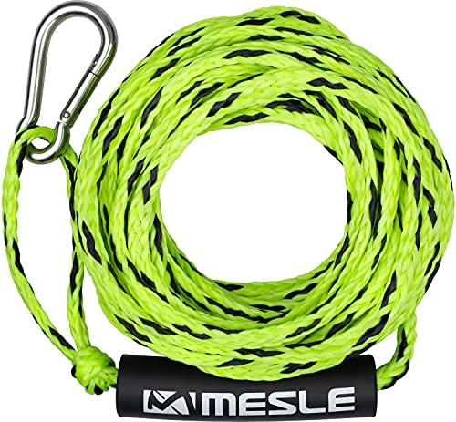 MESLE Schlepp-Leine 2P 50' für Wassersport Tubes und Schleppreifen, mit Schwimmer und Karabiner, Zug-Seil für 2 Personen Towable, Länge 15,2 m, Farbe:grün