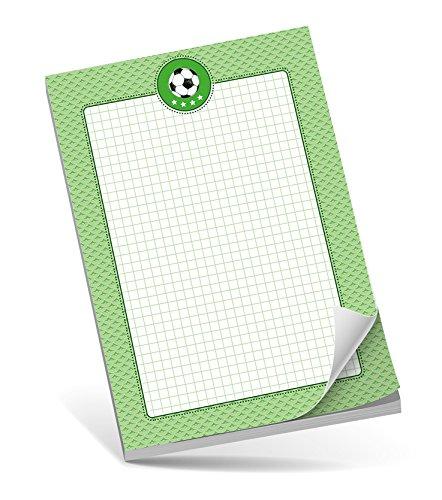 Schreibblock A5 FUßBALL GRÜN • 50 Blatt kariert DIN A5 (148,5x210 mm) Notizblock/Block/für Schulkinder/für Schlaufüchse/Malblock