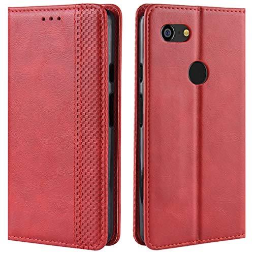 HualuBro Handyhülle für Google Pixel 3 XL Hülle, Retro Leder Brieftasche Tasche Schutzhülle Handytasche LederHülle Flip Hülle Cover für Google Pixel 3XL 2018 - Rot