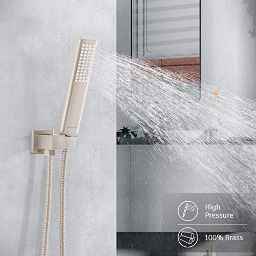 EMBATHER Shower System, Shower Faucets Sets Complete For Bathtroom California Certified-10 Inches Shower Head with Brass Valve and Trim Kit, Brushed Nickel
