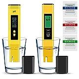 Vivibel - Medidor de pH, PH EC TDS y temperatura 4 en 1 (calibración automática, medidor de agua para agua potable, piscina, acuario), amarillo
