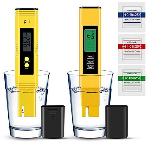 Vivibel pH Meter, pH EC TDS und Temperatur 4 in 1 Messgerät Set, pH Test Pool Zubehör Automatischer Kalibrierung, Wassertester Messen für Trinkwasser/Schwimmbad/Aquarium