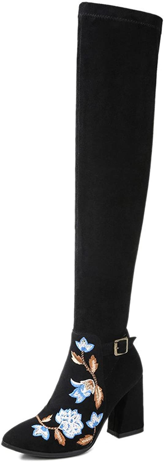 Nine Seven Suede Leather Women's Pointed Toe Block Heel Fashion Handmade Floral Over The Knee Boots